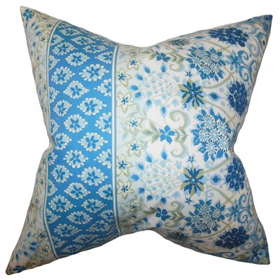 Kairi Floral Cotton Throw Pillow Color: Lapis, Size: 20 x 20