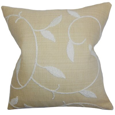 Delyth Floral Throw Pillow Color: Wheat, Size: 18 x 18
