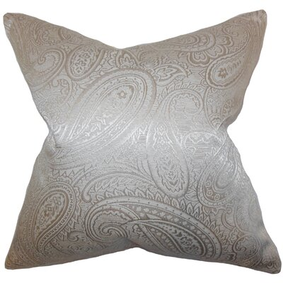 Cashel Paisley Throw Pillow Color: Pewter, Size: 24 x 24