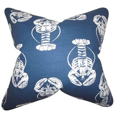 Haya Coastal Cotton Throw Pillow Color: Navy Blue, Size: 24 x 24