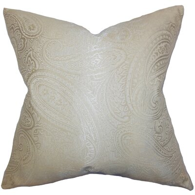 Cashel Paisley Throw Pillow Color: Neutral, Size: 18 x 18