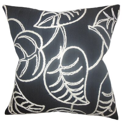Fabrizia Floral Throw Pillow Color: Black, Size: 24 x 24