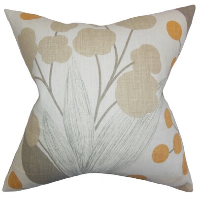 Geneen Floral Linen Throw Pillow Color: Spice, Size: 18 x 18