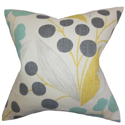 Geneen Floral Linen Throw Pillow Color: Sunshine, Size: 24 x 24