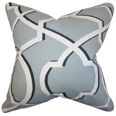 Curan Geometric Cotton Throw Pillow Color: Gray White, Size: 20 x 20