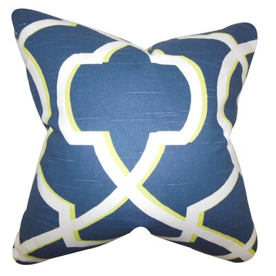 Curan Geometric Cotton Throw Pillow Color: Blue White, Size: 24 x 24