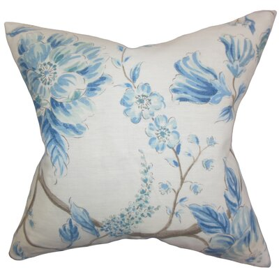 Ivria Floral Linen Throw Pillow Color: Lake, Size: 22 x 22