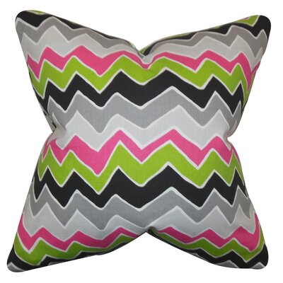 Achsah Zigzag Cotton Throw Pillow Color: Green Gray, Size: 18
