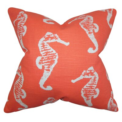 Jolyon Coastal Bedding Sham Size: Standard, Color: Orange STD-pp-seahorse-salmon-slub-c1