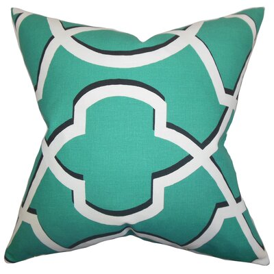 Curan Geometric Cotton Throw Pillow Color: Jade, Size: 22 x 22