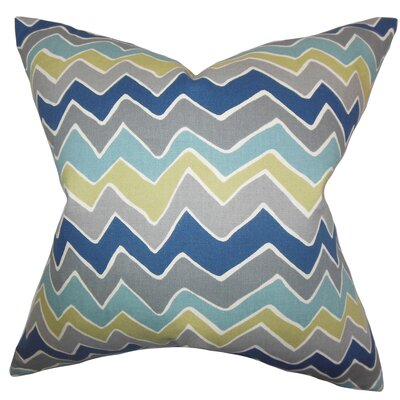 Achsah Zigzag Cotton Throw Pillow Color: Gray Blue, Size: 22 x 22