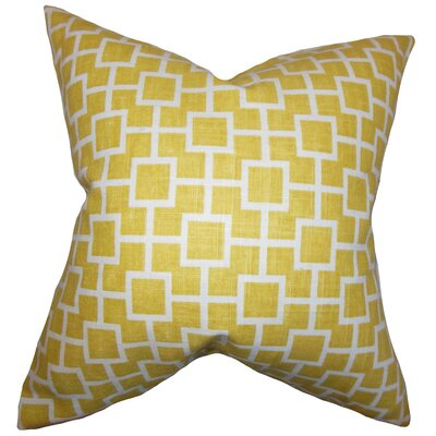 Janka Geometric Cotton Throw Pillow Cover Color: Yellow