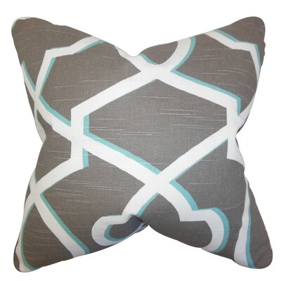 Curan Geometric Cotton Throw Pillow Color: Gray Blue, Size: 18 x 18
