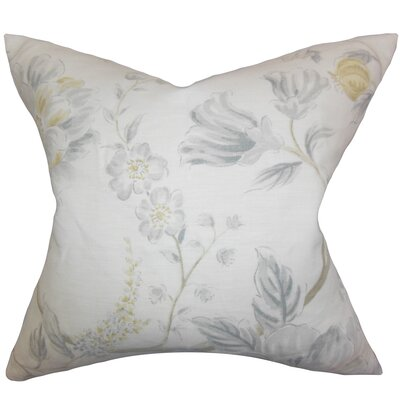 Ivria Floral Linen Throw Pillow Color: Sterling, Size: 18 x 18