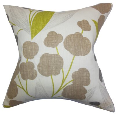 Geneen Floral Linen Throw Pillow Color: Olive, Size: 18 x 18