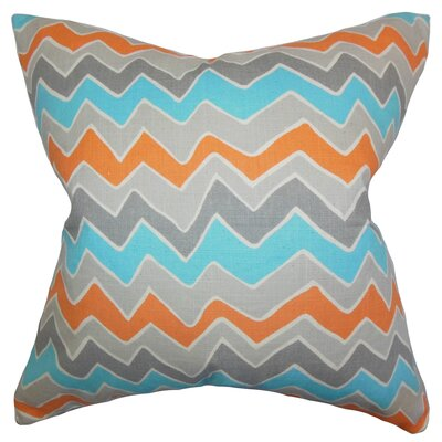 Achsah Zigzag Cotton Throw Pillow Color: Gray Orange, Size: 24 x 24