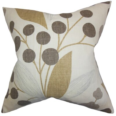 Geneen Floral Linen Throw Pillow Color: Raffia, Size: 22 x 22