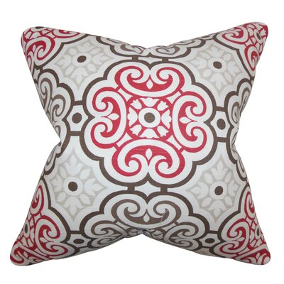 Nascha Geometric Cotton Throw Pillow Color: Red Blue, Size: 18 x 18