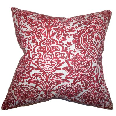 Daija Floral Cotton Throw Pillow Color: Red, Size: 24 x 24