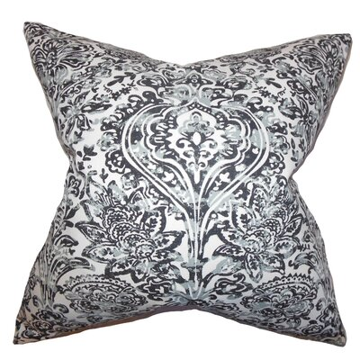 Daija Floral Cotton Throw Pillow Color: Gray, Size: 22 x 22