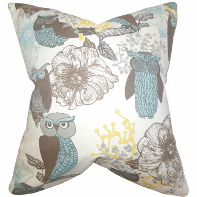 Bahaar Floral Cotton Throw Pillow Color: Blue, Size: 22 x 22