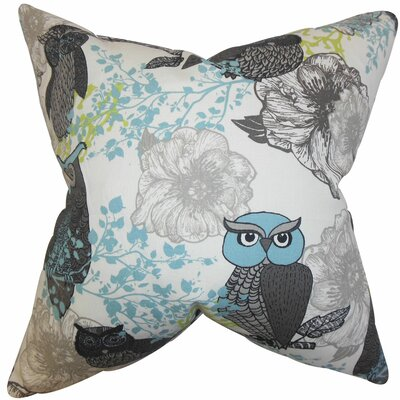 Bahaar Floral Cotton Throw Pillow Color: Gray, Size: 18 x 18