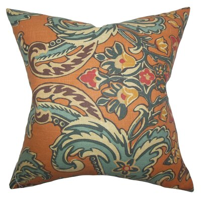 Kelila Floral Linen Throw Pillow Color: Cinnamon, Size: 18 x 18