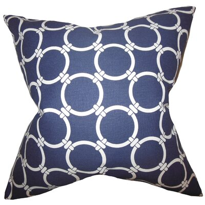 Betchet Geometric Cotton Throw Pillow Cover Color: Blue