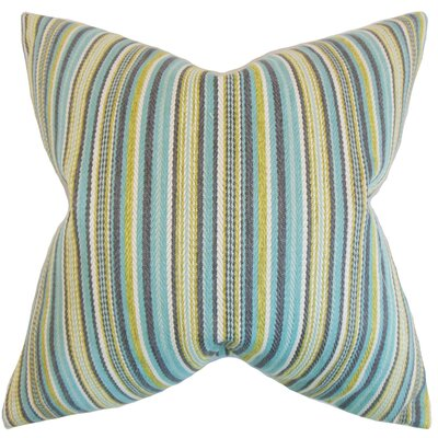 Janan Stripes Throw Pillow Color: Aqua, Size: 18 x 18
