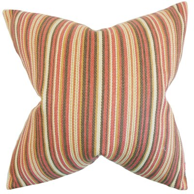 Janan Stripes Throw Pillow Color: Flame, Size: 24 x 24