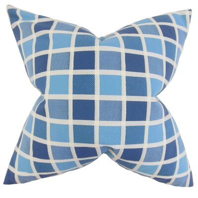 Gali Plaid Cotton Throw Pillow Color: Blue, Size: 18 x 18