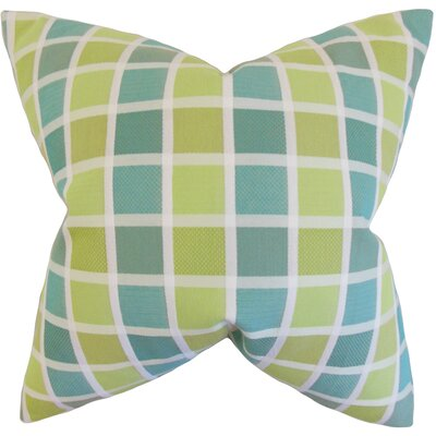 Gali Plaid Cotton Throw Pillow Color: Green, Size: 24 x 24