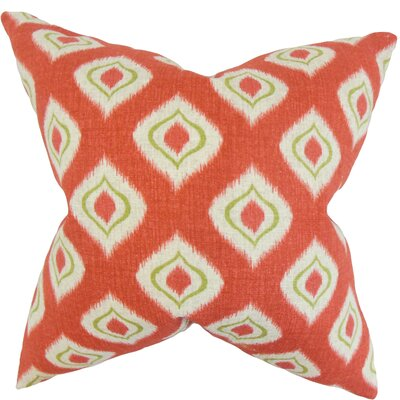 Dai Ikat Cotton Throw Pillow Color: Tomato, Size: 24 x 24