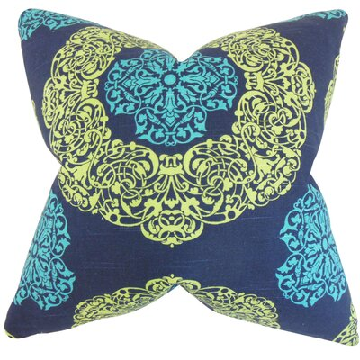 Ilona Damask Cotton Throw Pillow Color: Turquoise, Size: 18 x 18