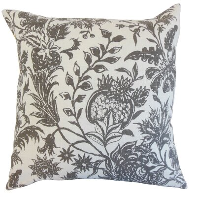 Bionda Floral Throw Pillow Color: Charcoal, Size: 18 x 18
