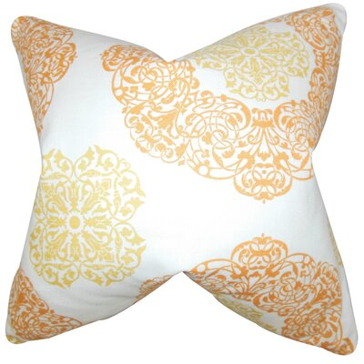 Ilona Damask Cotton Throw Pillow Color: Ginger, Size: 18 x 18