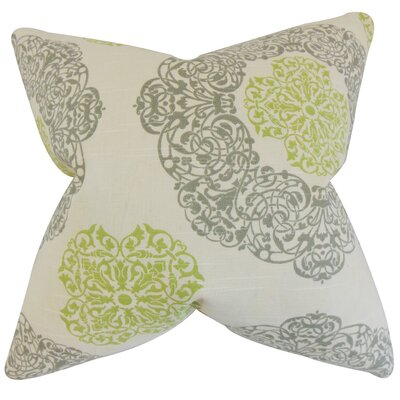Ilona Damask Cotton Throw Pillow Color: Green, Size: 18 x 18