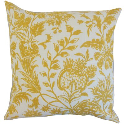 Bionda Floral Throw Pillow Color: Yellow, Size: 18 x 18