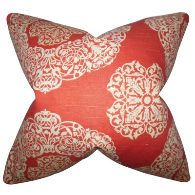 Ilona Damask Cotton Throw Pillow Color: Russett, Size: 18 x 18