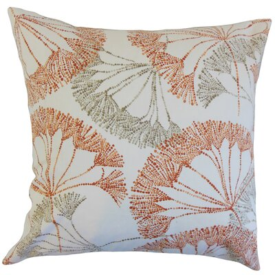 Grove Floral Cotton Throw Pillow Color: Persimmon, Size: 24 x 24