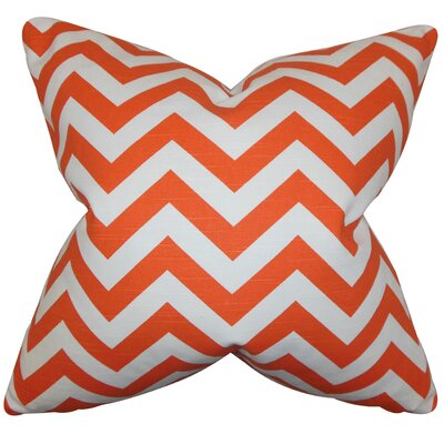 Falkner Chevron Cotton Throw Pillow Color: Tangerine, Size: 18 x 18