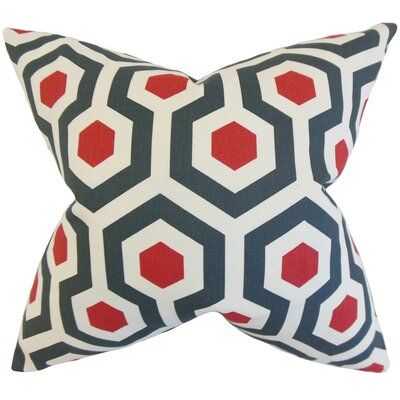 Maliah Geometric Cotton Throw Pillow Color: Blue Red, Size: 24 x 24