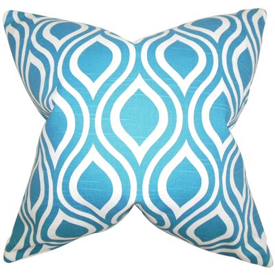 Poplar Geometric Cotton Throw Pillow Color: Blue, Size: 18