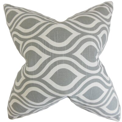 Poplar Geometric Cotton Throw Pillow Color: Ash, Size: 18