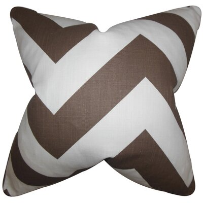 Eir Chevron Cotton Throw Pillow Color: Brown, Size: 18 x 18