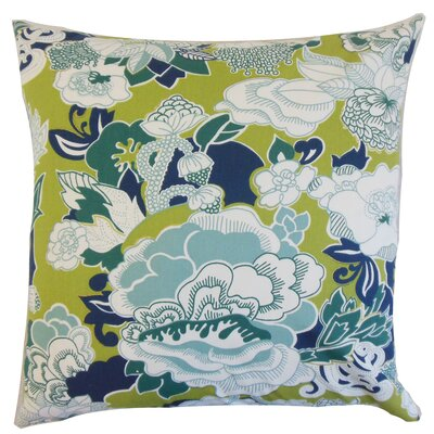 Dariela Floral Cotton Throw Pillow Color: Aqua Green, Size: 18 x 18