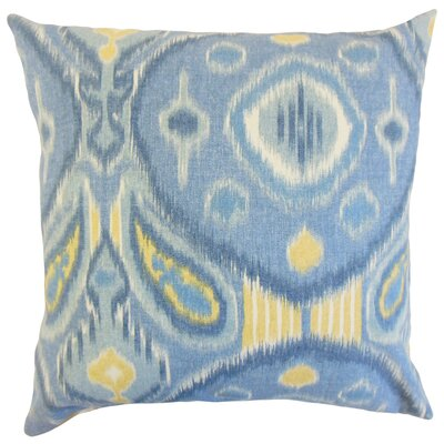 Janvier Ikat Linen Throw Pillow Color: Ocean, Size: 22 x 22