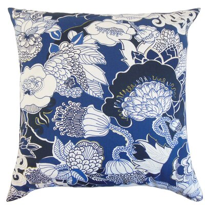 Dariela Floral Cotton Throw Pillow Color: Navy, Size: 24 x 24