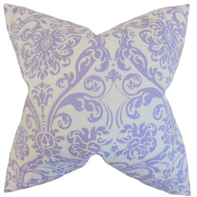 Saskia Damask Cotton Throw Pillow Color: Lavender, Size: 24 x 24