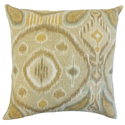Janvier Ikat Linen Throw Pillow Color: Rattan, Size: 18 x 18